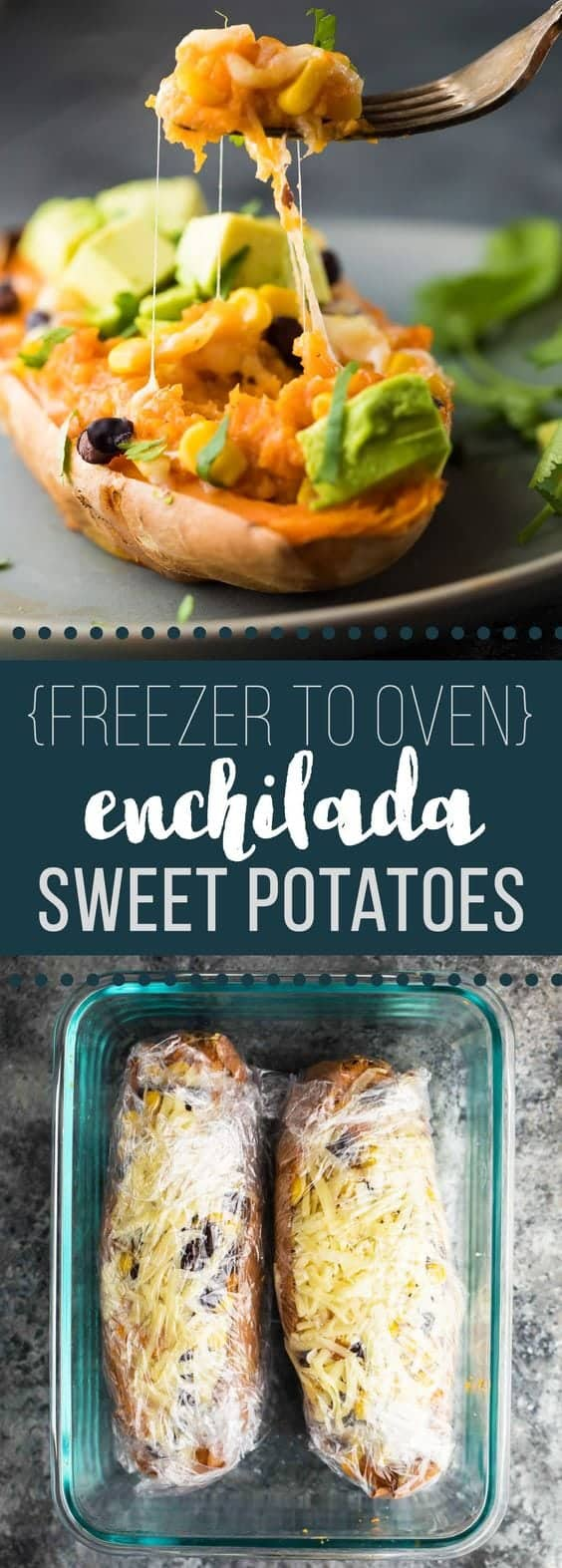 Enchilada Stuffed Sweet Potatoes that can go directly from the freezer into your oven! Make them ahead for an easy (vegetarian and gluten free) meal prep lunch or dinner. #mealprep #vegetarian #sweetpotatoes #freezermeals #sweetpeasandsaffron #glutenfree