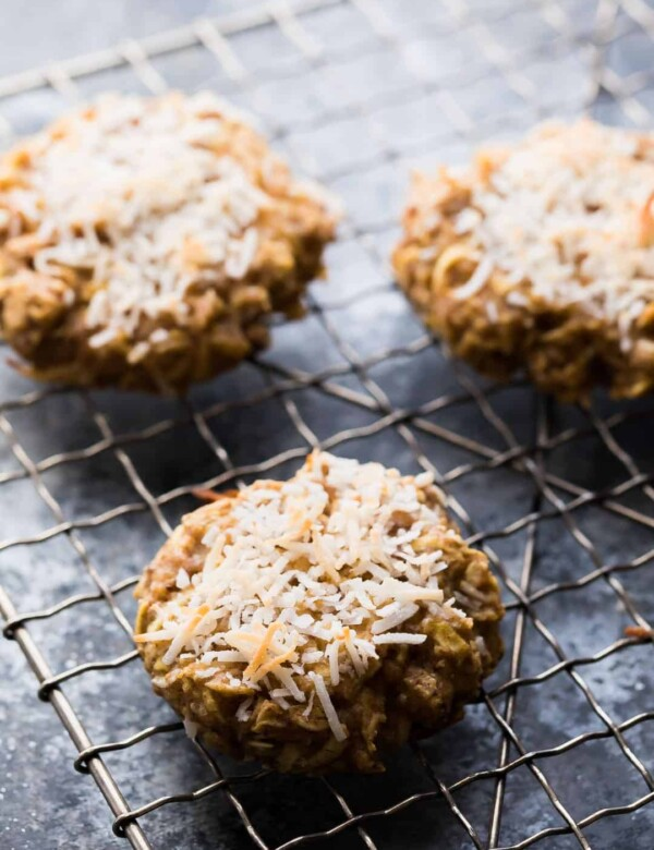 three healthy apple almond butter snack cookies cooling on wire rack