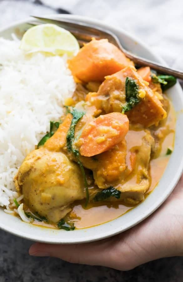 Slow Cooker Sweet Potato Chicken Curry (Freezer to Crock Pot)