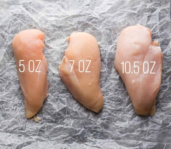 different sized chicken breasts for how to bake chicken breast post on wax  paper