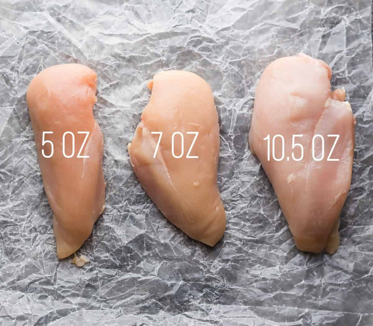 3 chicken breasts of differing sizes