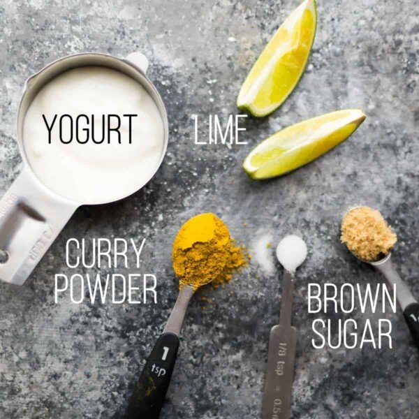 ingredients required for the curry yogurt marinade