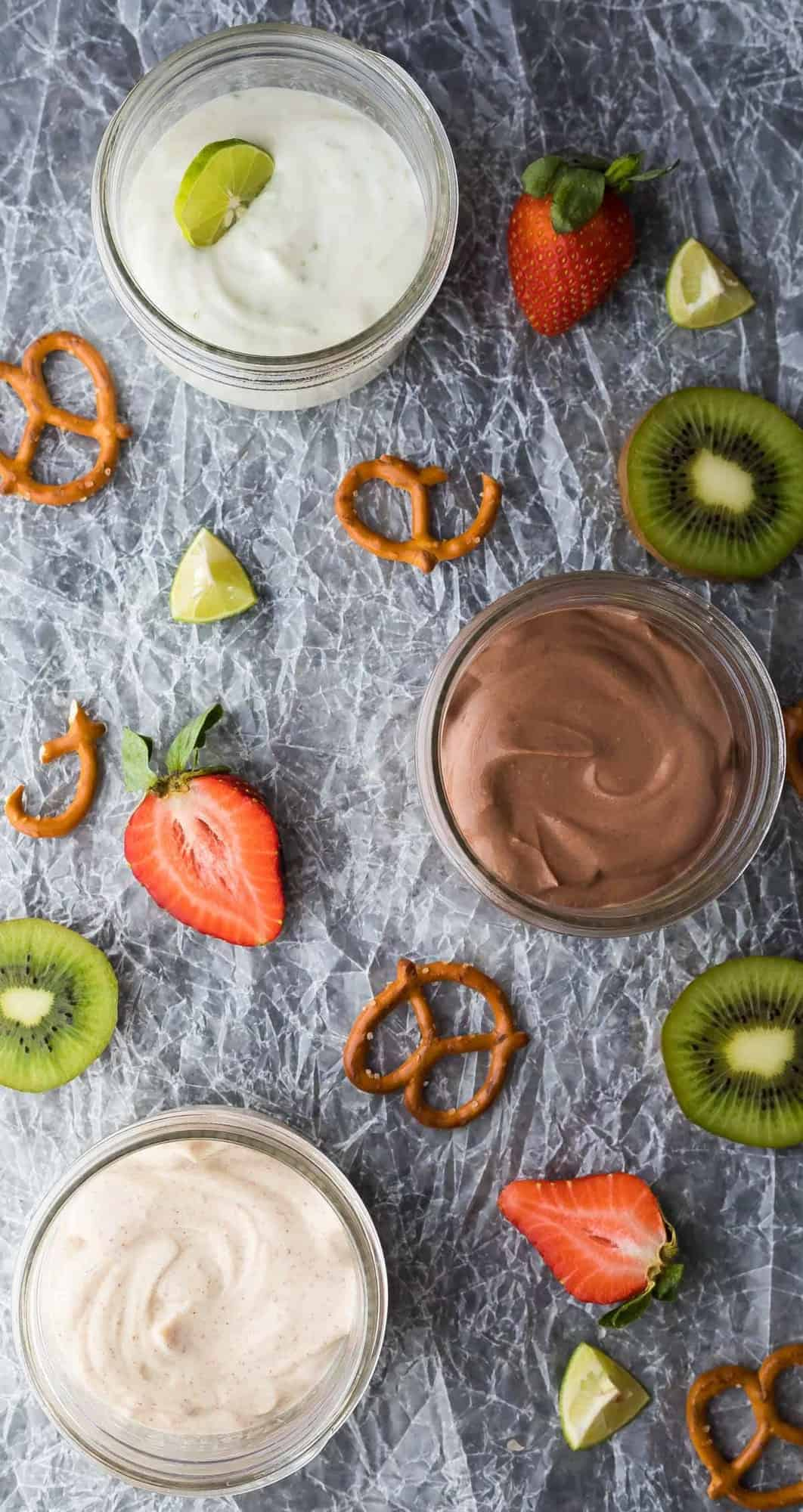 Healthy Greek Yogurt Fruit Dips are a delicious way to serve fruit, and also a great way to encourage you to eat more fruit. We love these yogurt dips as a meal prep snack.