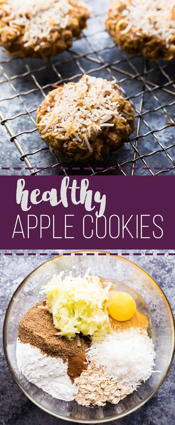 These Healthy Apple Almond Butter Snack Cookies are sweet enough to satisfy your sweet tooth, but are filled with healthy ingredients. No refined sugar and TWO CUPS of shredded apple. They make a great kid friendly snack or breakfast on the go! #mealprep #cookies #snack #healthy #apple #sweetpeasandsaffron