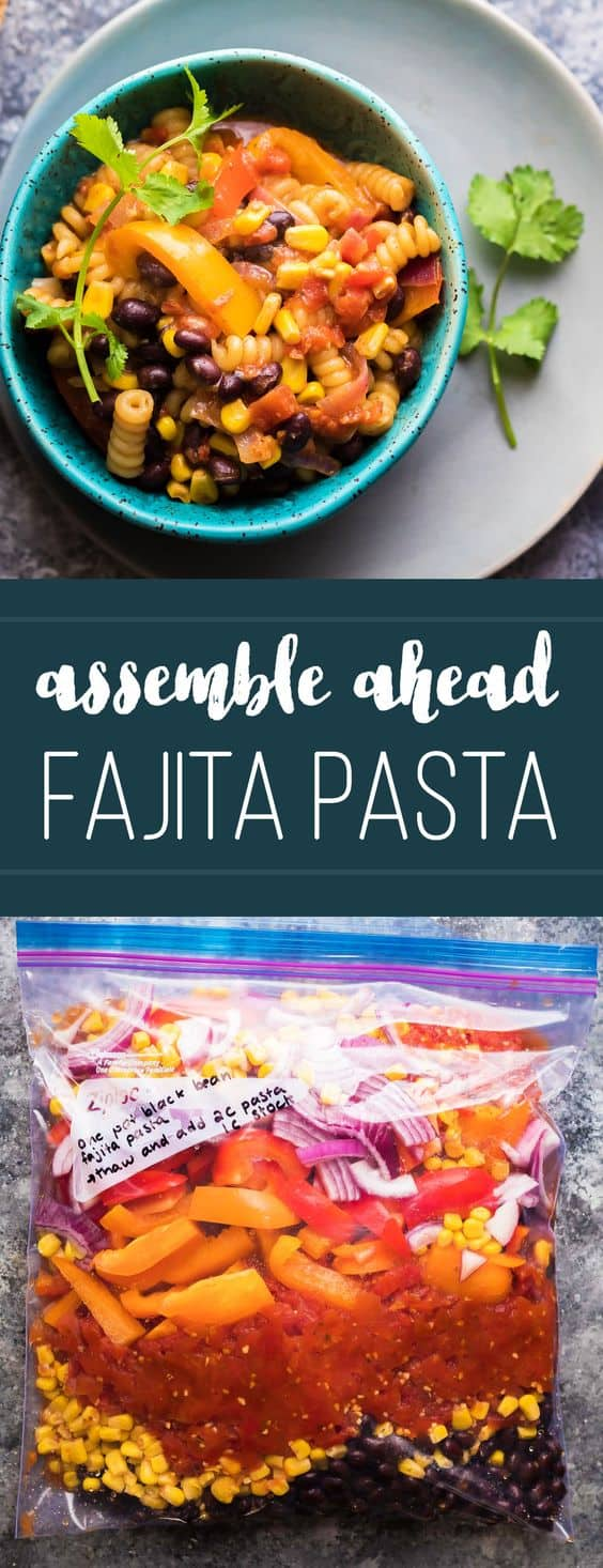 This one pot black bean fajita pasta can be assembled ahead of time and frozen for a quick and easy dinner option! When you're ready to serve, just dump everything in a pot and cook it up. An easy meal prep dinner recipe the family will enjoy. #mealprep #onepot #vegetarian #freezermeal #pasta #sweetpeasandsaffron