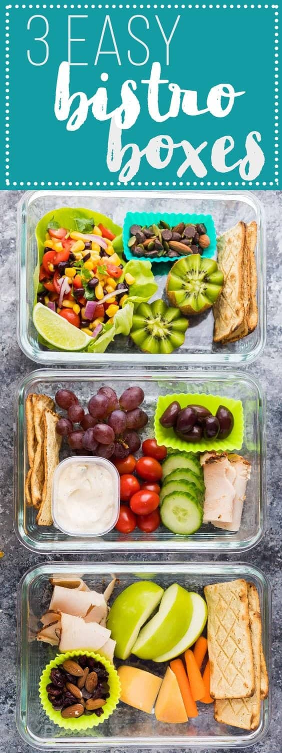 These easy bistro lunch boxes can be prepared ahead of time for an easy grab and go lunch or snack! A great simple meal prep option to mix things up through the week while keeping things easy and healthy! #mealprep #bistrobox #lunchbox #lunch #sweetpeasandsaffron