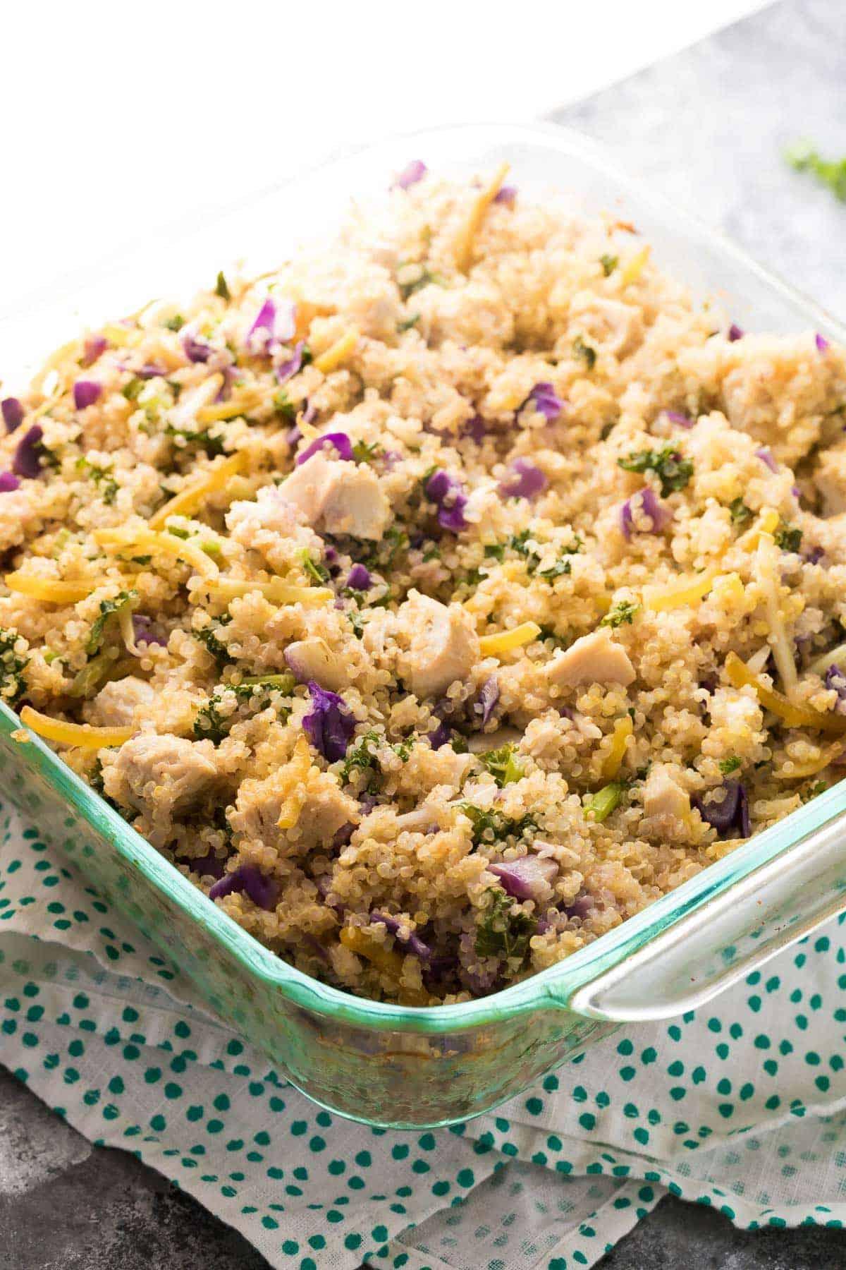 Mediterranean Chicken Quinoa Casserole, an easy dinner prep idea!