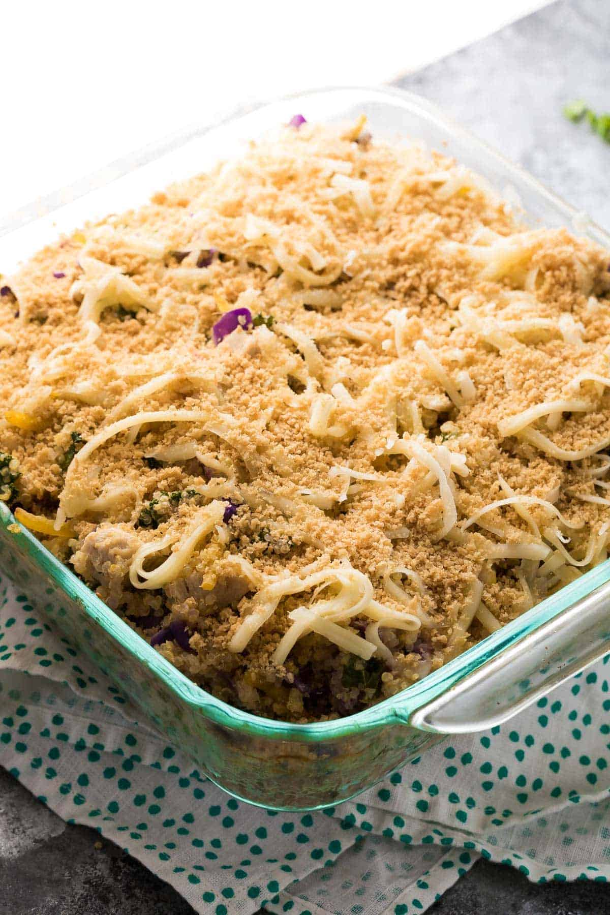 Mediterranean Chicken Quinoa Casserole, an easy dinner prep idea!