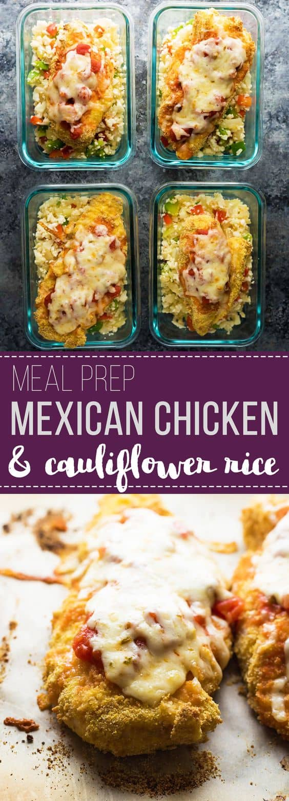 Mexican chicken and cauliflower rice meal prep bowls make for a tasty, low carb work lunch that can be prepped on the weekend. Topped with jalapeño Monterey Jack cheese for a little kick! #mealprep #chicken #cauliflowerrice #lowcarb #lunchbowl #sweetpeasandsaffron