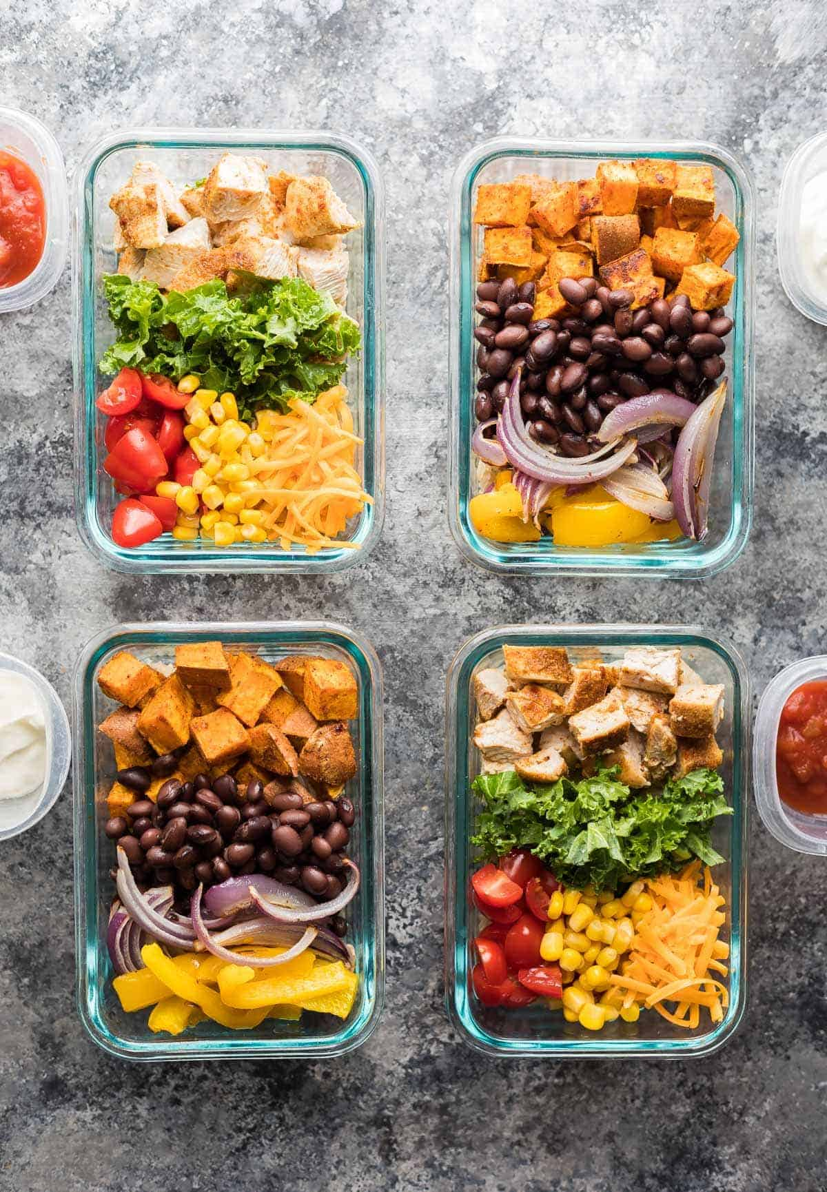 These mix & match meal prep burrito bowls will help you make four delicious lunches using what you have on hand in your pantry and fridge.
