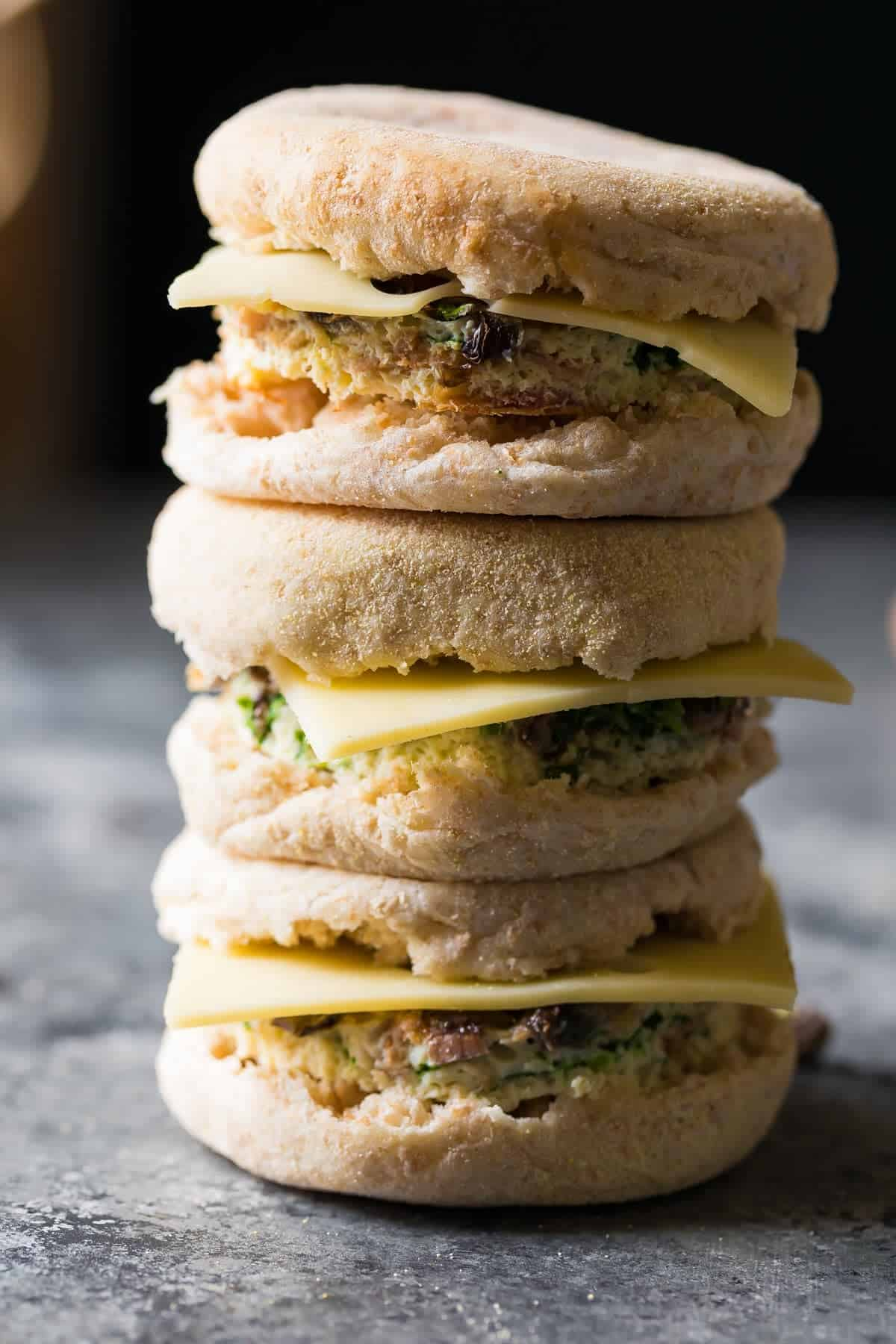 Stack of three Mushroom bacon breakfast sandwiches