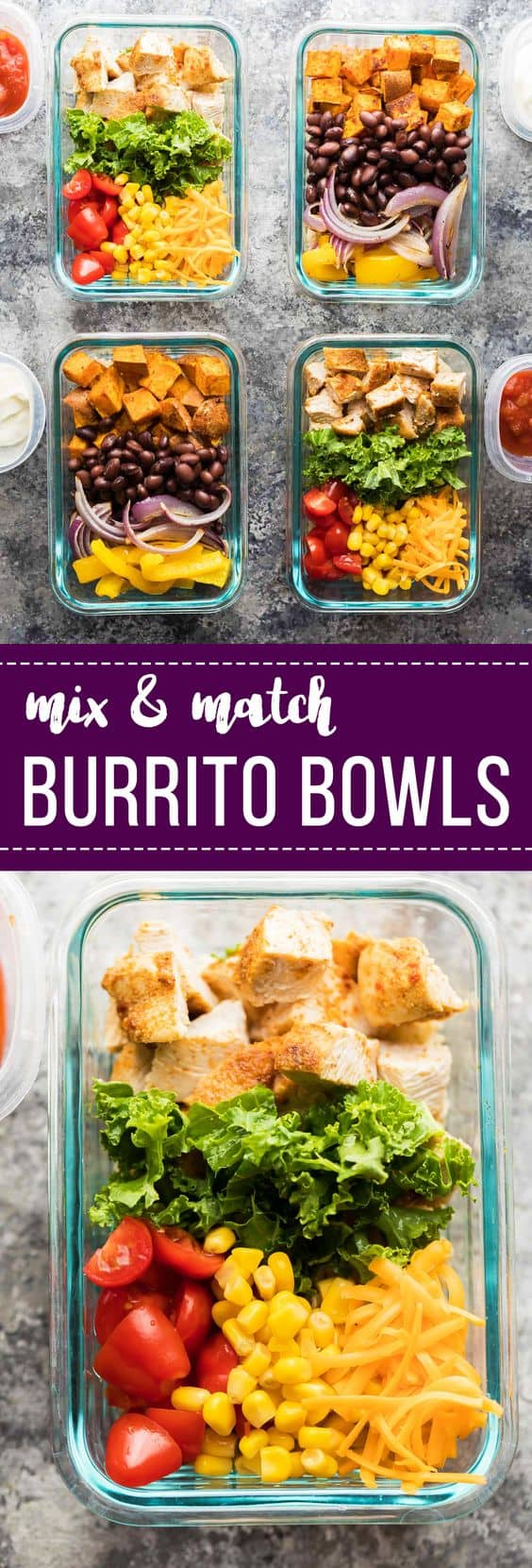 These mix & match meal prep burrito bowls will help you make four delicious lunches using what you have on hand in your pantry and fridge. Vegan and gluten free options! #mealprep #burritobowl #lunch #dinner #chicken #vegetarian #vegan #sweetpeasandsaffron