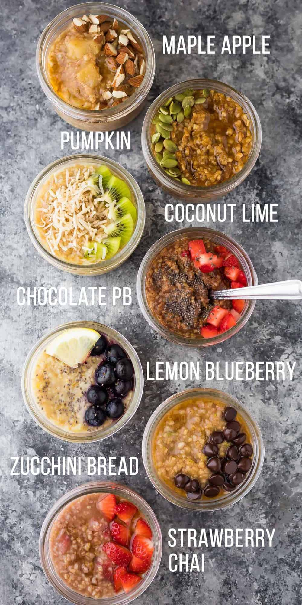 7 healthy steel cut oats recipes that are easy to make ahead and keep in the fridge or freezer for easy breakfasts. Plus instructions on how to cook steel cut oats in the Instant Pot, slow cooker or on the stovetop. #breakfast #oatmeal #instantpot #mealprep #freezermeal #steelcutoats