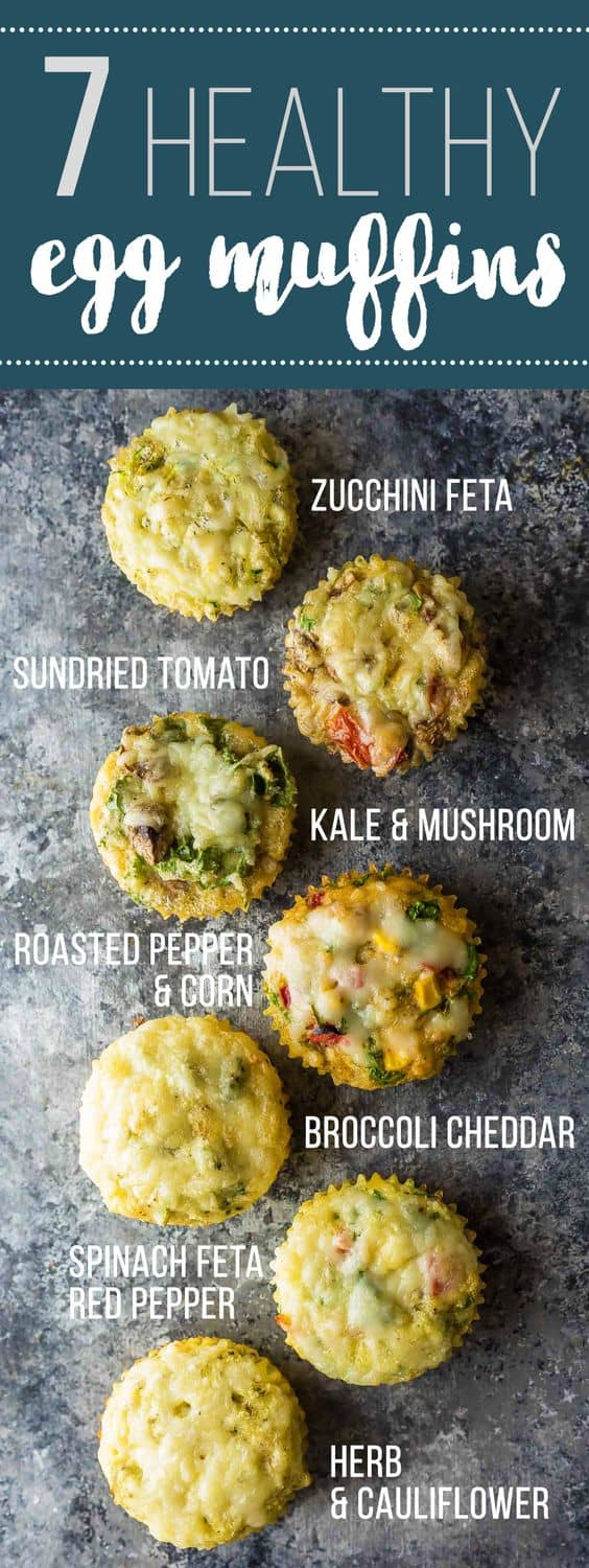 Enjoy these healthy breakfast egg muffins for breakfast on the go, or even for a healthy snack! With 7 different flavors, you will never get bored. Stock your freezer so you always have healthy options! Meal prep for breakfast that can be healthy! #mealprep #eggs #eggmuffin #lowcarb #sweetpeasandsaffron #vegetarian