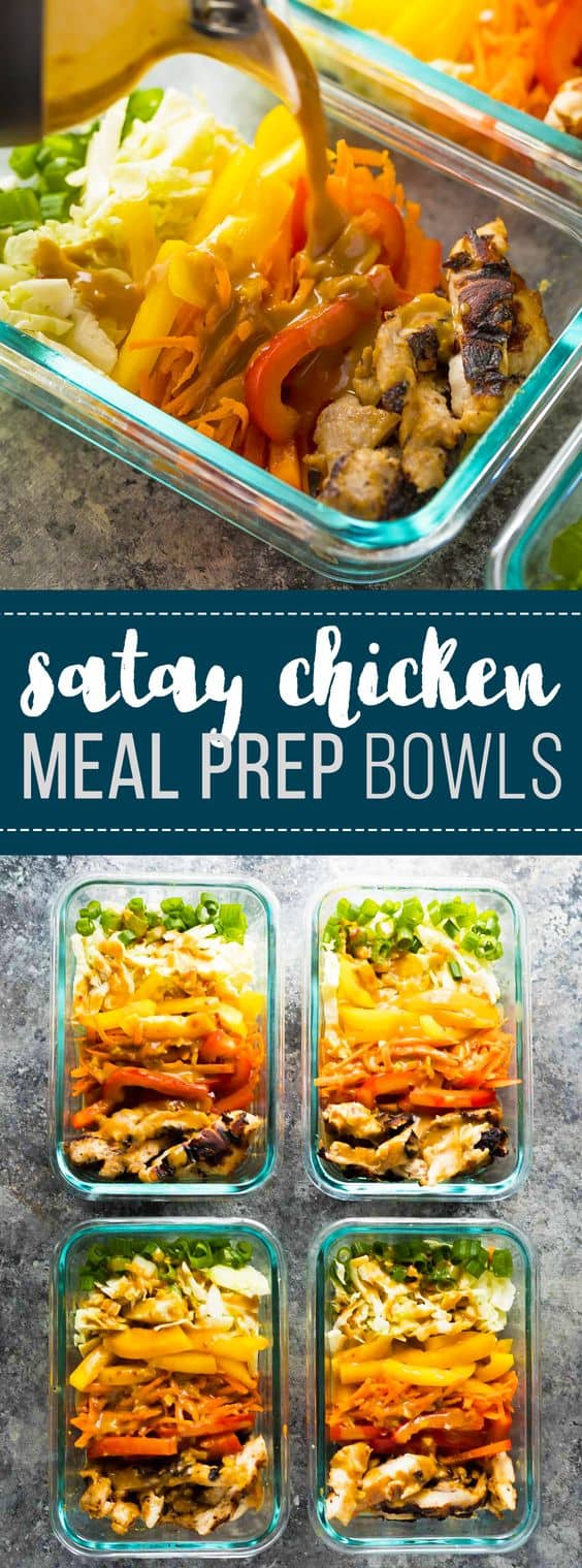 These satay chicken meal prep lunch bowls can be prepped on the weekend and enjoyed throughout the week for a tasty, low carb lunch. You're going to want to drizzle that peanut sauce on everything! #mealprep #lunchbowl #salad #satay #chicken #glutenfree #lowcarb #sweetpeasandsaffron #healthy