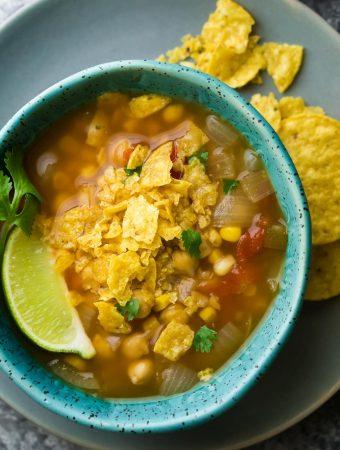 Slow Cooker Chickpea Tortilla Soup (Freezer to Crock Pot)