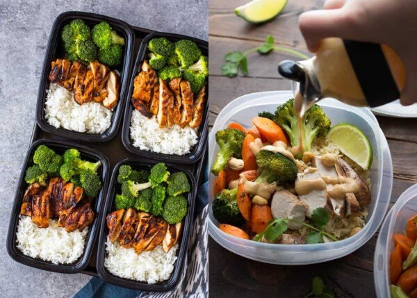 collage image with Chicken, Broccoli and Rice in containers on the left and Thai Chicken Lunch Bowls on the right