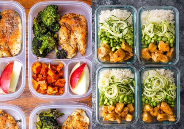 collage image with Meal Prep Lunch Bowls with Spicy Chicken on the left and Firecracker Chicken Meal Prep Bowls on the right