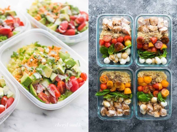 collage image with Buffalo Chicken Whole30 bowls on the left and Caprese Chicken Salad bowls on the right