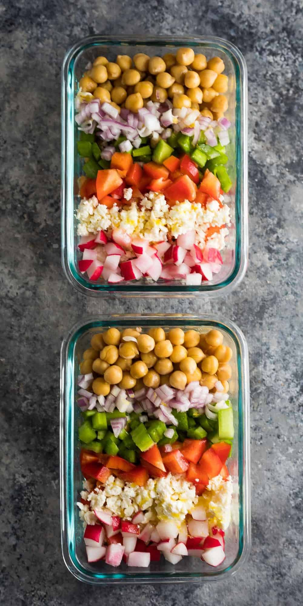 This meal prep chopped chickpea salad can be made on the weekend and enjoyed throughout the week!  Store them in meal prep containers, or as jar salads.