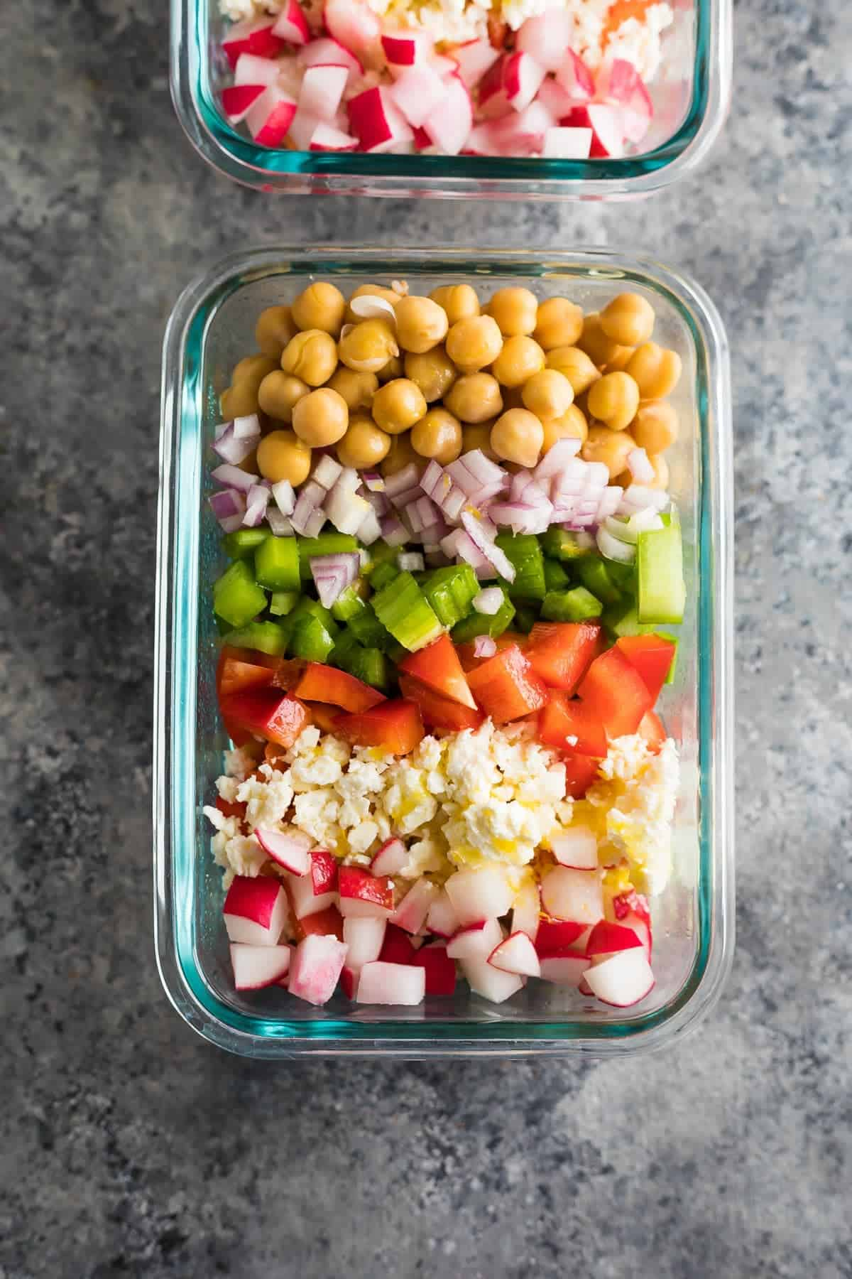 Meal Prep Chopped Chickpea Salad Sweet Peas And Saffron