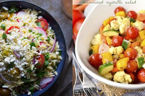 collage image of Herb Orzo Pasta Salad with Feta on left and Marinated Vegetable Salad on right