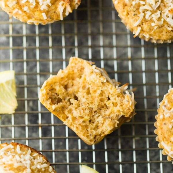 overhead shot of lemon chia yogurt muffins cooling on wire rack
