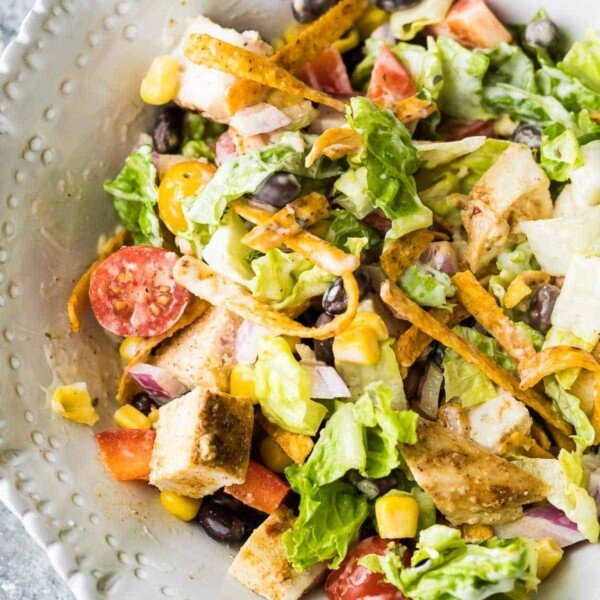overhead shot of southwestern chopped chicken salad in large white bowl