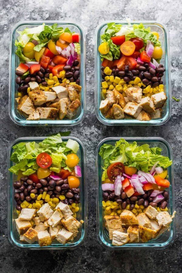 This southwestern chopped chicken salad is going to be your new favorite work lunch! Prep ahead on the weekend and when you're ready to serve, drizzle with ranch and sprinkle with tortilla strips.