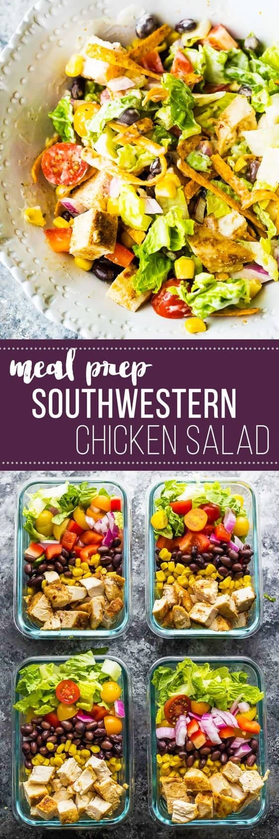 This southwestern chopped chicken salad is going to be your new favorite work lunch for your meal prep! Prep ahead on the weekend and when you're ready to serve, drizzle with ranch and sprinkle with tortilla strips. #mealprep #sponsored #salad #ranch #chicken #lunch #sweetpeasandsaffron