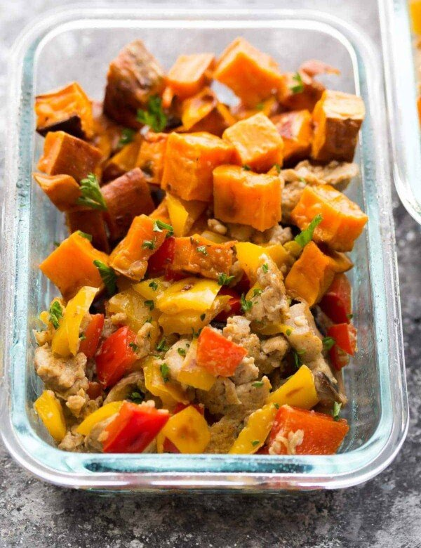 glass meal prep container with sweet potato breakfast bowl