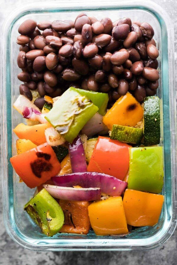 Make these Grilled Veggie & Black Bean Meal Prep Bowls on the weekend and you will have four work lunches waiting for you. A great vegetarian meal prep option that will keep your oven off this summer.