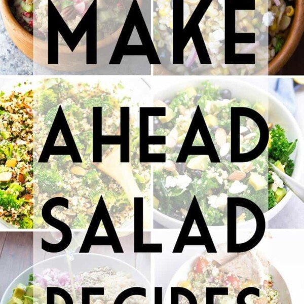 collage image of salads with text overlay saying make ahead salad recipes