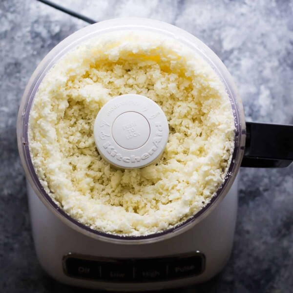 cauliflower in a food processor after ricing