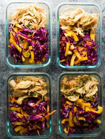 Slow Cooker Chipotle Honey Chicken Taco Salad Lunch Bowls
