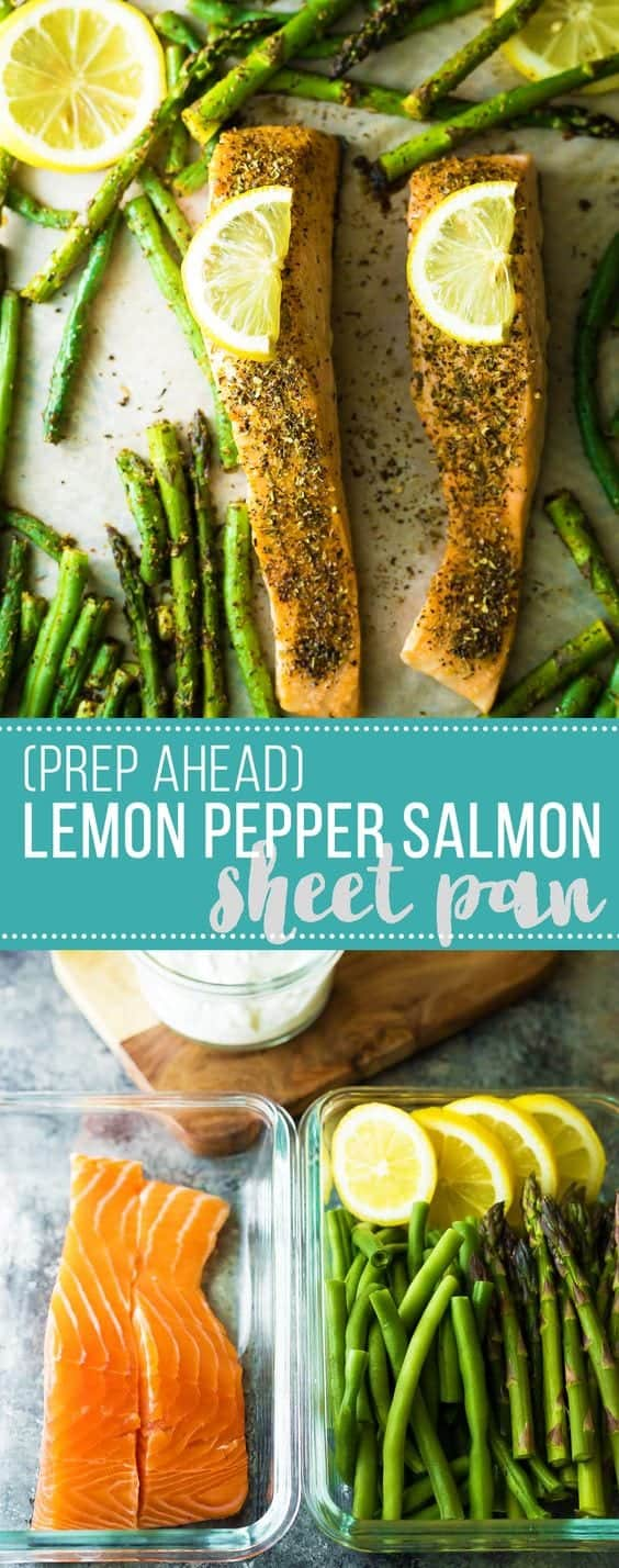 Lemon pepper sheet pan salmon with green beans, asparagus and lemon dill yogurt. You can prep this dish ahead and keep it in the fridge for up to 3 days before baking it. An easy, low carb and healthy dinner option.