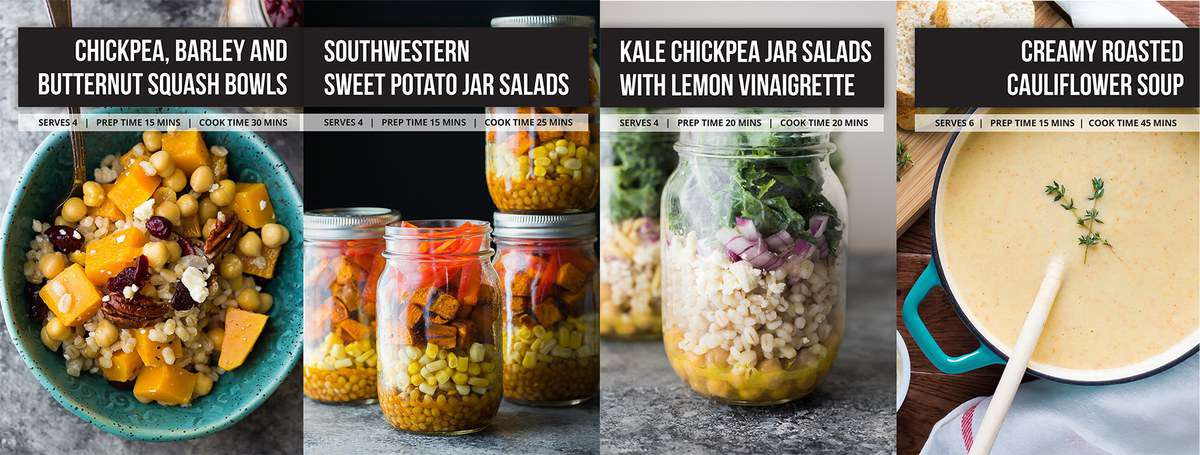 collage image of mason jars filled with foods with recipe labels