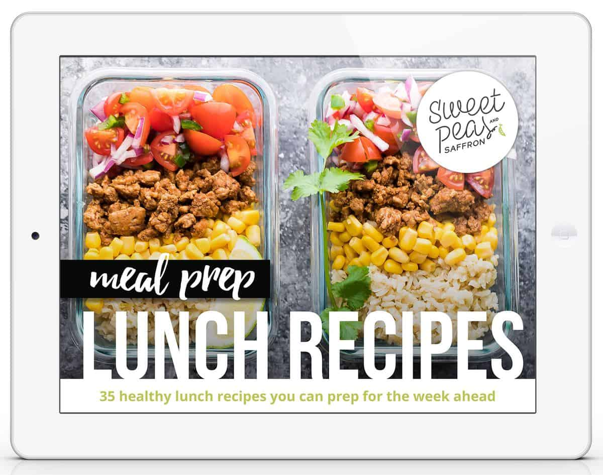 two glass containers of food with text saying meal prep lunch recipes