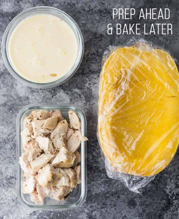 Componenets of Lemon Chicken Spaghetti Squash prepped ahead to bake later