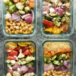 overhead shot four glass meal containers with chickpea buddha bowls and greek chicken wraps
