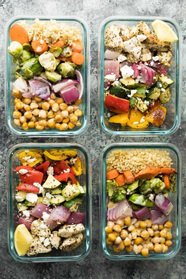 overhead shot of Meal Prep Sheet Pan 2 Ways: Greek Chicken Wraps & Chickpea Buddha Bowls