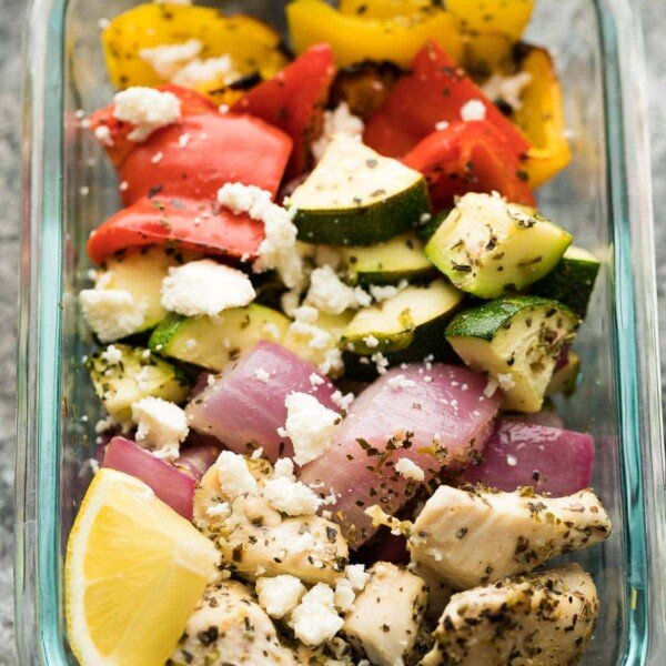 greek chicken wrap for meal prep in glass meal prep container