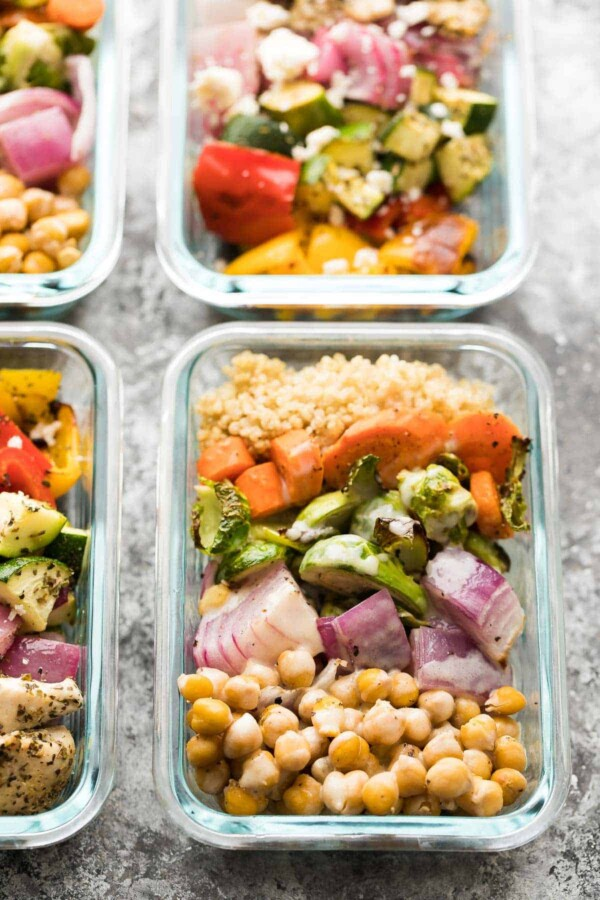 glass meal prep container with chickpea buddha bowls