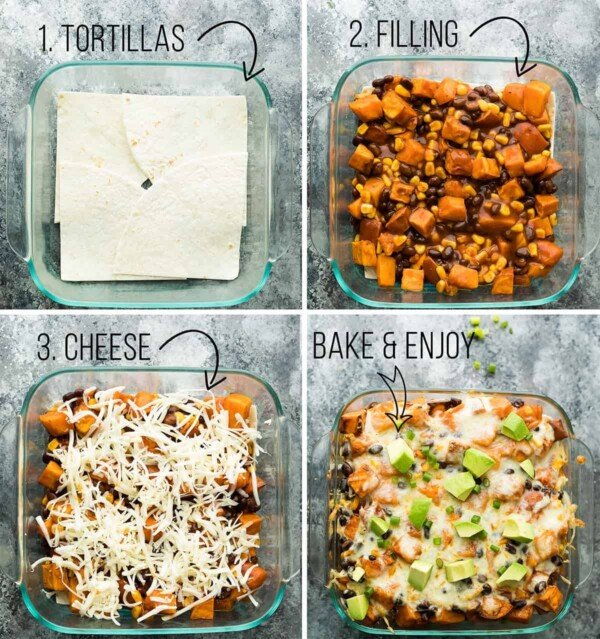 Bake this butternut squash enchilada casserole on the weekend and enjoy the leftovers for your lunch or dinner! Packed with veggies and easy to throw together.