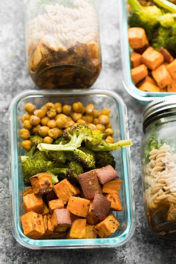 Overhead view of sweet potato, chickpea, broccoli bowl in glass meal prep container