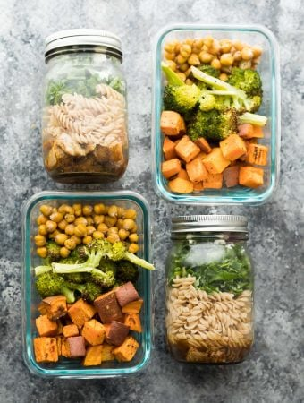 2 for 1 Meal Prep: Balsamic Pasta Jar Salads and Sweet Potato, Chickpea, Broccoli Bowls