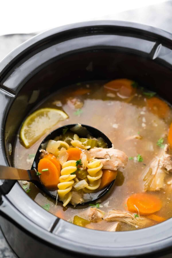 lemon sesame chicken noodle soup in slow cooker after cooking
