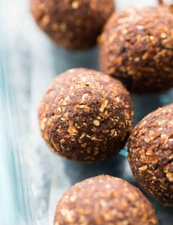 close up shot of nut free energy bites