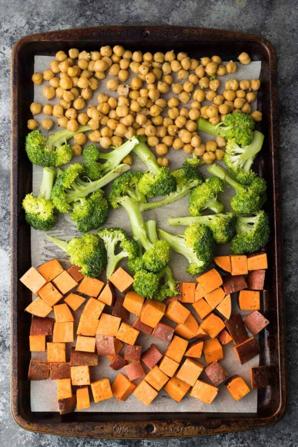 chickepeas, broccoli, and sweet potato chunks on sheet pan with parchment before baking