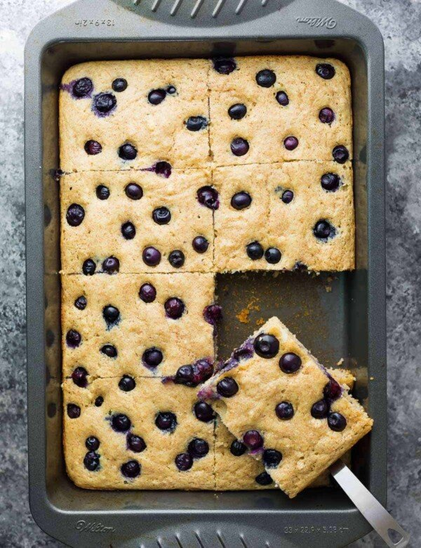 overhead shot of sheet pan protein pancakes cut in large squares